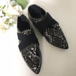 ASOS // Black, White Python Print Pointed Loafers